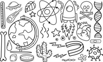 verschillende doodle slagen over wetenschappelijke apparatuur geïsoleerd op een witte achtergrond vector
