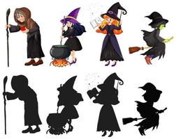 tovenaar of heksen in kleur en silhouet stripfiguur geïsoleerd op een witte achtergrond vector