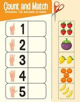 tel en match spel, wiskunde werkblad voor kinderen