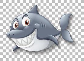 haai glimlachend stripfiguur op transparante achtergrond