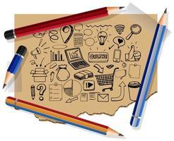 hand getekend sociale media-elementen op papier met veel potloden vector