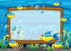 leeg frame sjabloon met exotische vissen stripfiguur in de onderwaterscène