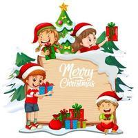 vrolijk kerstfeest lettertype op een houten bord met kinderen en kerst-objecten op witte achtergrond