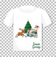 Kerstman stripfiguur op t-shirt geïsoleerd op transparante achtergrond vector
