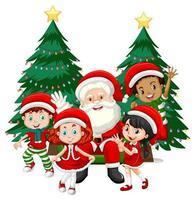 kerstman met kinderen dragen kerst kostuum stripfiguur op witte achtergrond vector