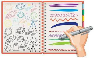hand tekenen ruimte element doodle op notebook vector