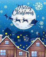 vrolijk kerstfeest lettertype met silhouet van de kerstman en rendieren in de lucht
