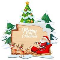 vrolijk kerstfeest lettertype logo op een houten bord met kerst stripfiguur op witte achtergrond vector