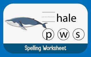 zoek ontbrekende brief met walvis vector