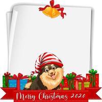 blanco papier met vrolijk kerstfeest 2020 lettertype logo en hond vector
