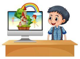 gelukkige jongen naast computer met fee in desktopscherm vector