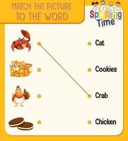 woord-naar-afbeelding matching werkblad voor kinderen vector