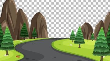 lege natuurparkscène met lang wegenlandschap op transparante achtergrond