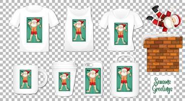 Kerstman dansende stripfiguur met set van verschillende kleding en accessoires producten op transparante achtergrond vector