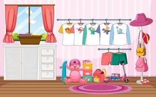 kinderkleding aan een waslijn met veel speelgoed in de kamerscène