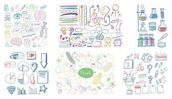 set van kleurrijke object en symbool hand getrokken doodle op witte achtergrond