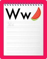 alfabet overtrekken werkblad met letter w en w vector
