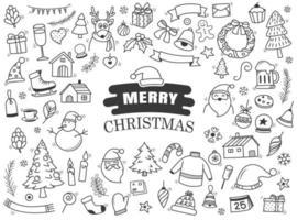 set van vrolijk kerstfeest doodle blad vector