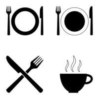 set van vier symbolen voor cafés en restaurants vector
