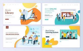 set webpagina-ontwerpsjablonen voor boekenbibliotheek vector