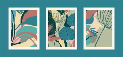 verzameling art prints met abstracte bladeren