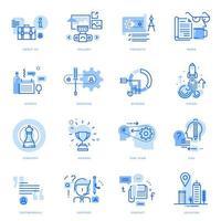 set van platte lijn bedrijfspictogrammen