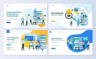 set ontwerpsjablonen voor webpagina's voor het onderwijs vector