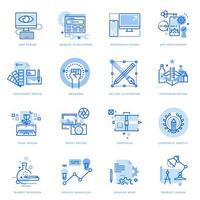 set van platte lijn iconen van grafisch en webdesign en ontwikkeling vector