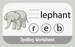 zoek ontbrekende letter met olifant vector