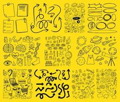 set object en symbool hand getrokken doodle op gele achtergrond