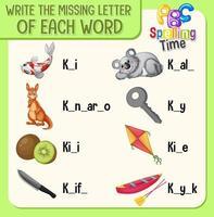 schrijf de ontbrekende letter van elk woord-werkblad voor kinderen