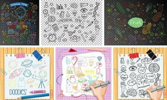 set van kleurrijke object en symbool hand getrokken doodle
