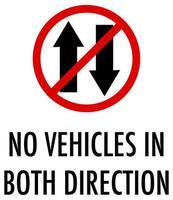 geen voertuigen in beide richtingsteken op witte achtergrond