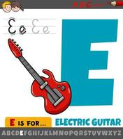 letter e uit alfabet met cartoon elektrische gitaar vector