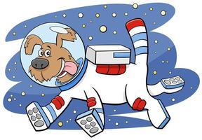 cartoon hond in de ruimte komisch dierlijk karakter vector
