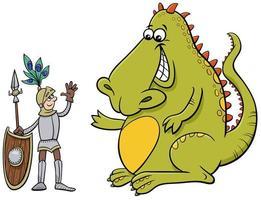 draak en ridder die een vriendelijke praatcartoon hebben vector