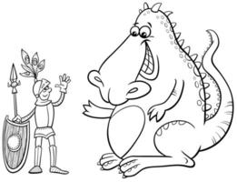 draak en ridder cartoon kleurboekpagina vector