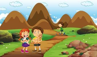 scène met veel kinderen in het park vector