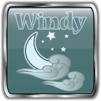 nacht weerpictogram met tekst winderig