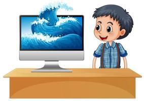 gelukkige jongen naast computer met golven op het scherm