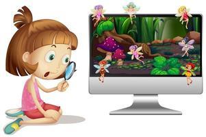 een schattig meisje met sprookje op computer achtergrond
