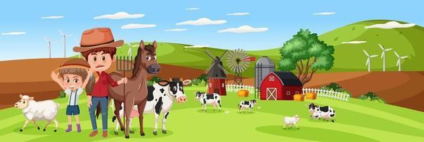 familie in natuurboerderij met boerderij dieren horizontale landschapsscène overdag vector