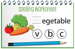 zoek ontbrekende letter met groente vector