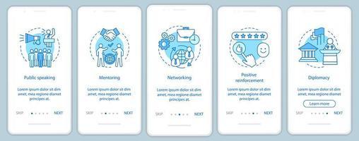 zakelijke vaardigheden onboarding mobiele app-paginascherm vector