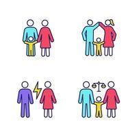 set van gekleurde pictogrammen voor voogdij over kinderen