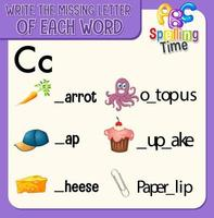 vul de ontbrekende letter van elk woord-werkblad voor kinderen in