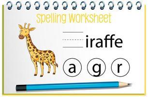 zoek ontbrekende brief met giraf vector