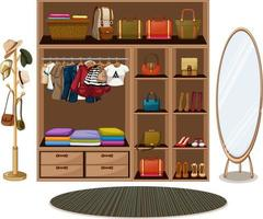 kleren hangen aan een waslijn met accessoires in de kledingkast