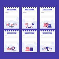 blauw en wit schoon zakelijk dagboek