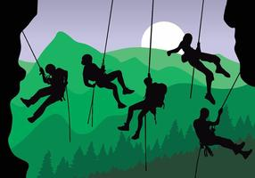 Rappelling Silhouet Vector Pack